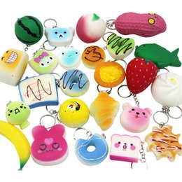 Wholesale Food Cartoons - Squishy Simulation Bread 30pcs Random Mix PU Cute Lovely Cartoon Pendant Kawaii Food Squishy Super Kid Toy Decompression Toys