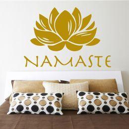 Autocollant inde en Ligne-Vente chaude Bouddhisme Inde Lotus Stickers Muraux Namaste Inde Removabl Creative PVC Sticker Mural pour Salon Maison Décoratif