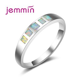 Opala homens prata anel on-line-Jemmin Top Quality Marca Simples Branco Anéis De Opala De Fogo Para As Mulheres / Homens de Noivado Casamento 925 Sterling Silver Party Anel Jóias
