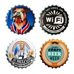 Wholesale Home Pubs - Wholesale 60 Options Embossed Beer Bottle Cap Design Creative High Quality Vintage Tin Sign Bar Pub Home Wall Decor Metal Art Poster