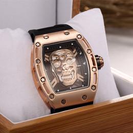 Wholesale modern skull - Original Skull Mens Watches Rectangle Square Watch Luxury Brand Fashion Quartz Wristwatches Business Men Watch Wholesale