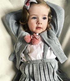 Wholesale Infant Cardigan Sweaters - Baby Girl Sweater Cardigan Kids Girl Knitted Suspender Skirt Set Infant Strap Braces Skirt sueter infantil little jumper