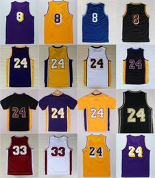 Wholesale Black Mesh Shirts - 24 8 Kobe Bryant Basketball Jersey Men's Black T-shirt Adult Mesh Throwback 33 Bryant KB Jerseys Youth Kids Retired Embroidery wholesale