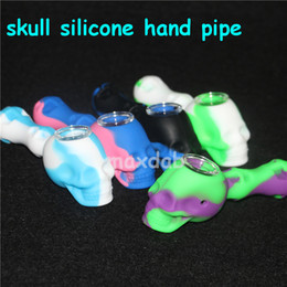 heating oil pipe Promo Codes - skull Silicone Rig tabacoo hand pipes silicone smoking pipe Hand Spoon Pipe heat Hookah Bongs silicon oil dab rig with glass bowl