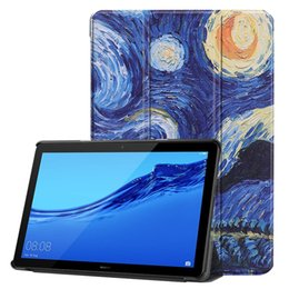 books for painting Promo Codes - 30pcs Book Flip Ultra Slim Painted PU Leather Case for Huawei Mediapad T5 AGS2-W09 AGS2-L09 AGS2-L03 AGS2-W19 10.0 inch Tablet Cover