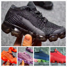 Wholesale knitted baby boy shoes - New baby children boy girl vapormax runner Casual Shoes boys girls vapormaxes trainers knit sneaker Air cushion kids shoes Size:28-35