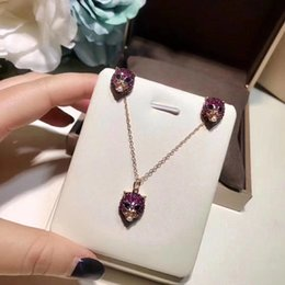 Wholesale Italy Gold Necklace - Leopard Necklace Italy Brand Stud Classic Design Punk G Logo Earrings Women Party Crystal Zircon Necklace Handmade Imitation Jewelry1:1