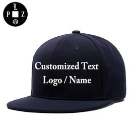 Wholesale Names Hats - PLZ Customized Cap 3D Embroidery Custom Made Logo Snapback Men Women Family Team DIY Design Name Hat Cotton Navy Blue
