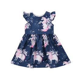 Wholesale patterns toddler dresses - Fashion Cute Toddler Infant Girl floral animal Unicorn pattern Summer Dress One-Piece