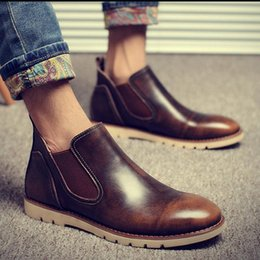 Wholesale mens wedding boots - 2017 Latest Mens Chelsea Boots Genuine Leather Elastic Band Round Toe Cow Leather Chakku Ankle Dress Wedding Boots