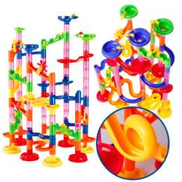 105 unids DIY Marble Race Run Maze Balls pista bloques de construcción para niños educativos de construcción juego juguetes regalo modelo juguetes desde fabricantes