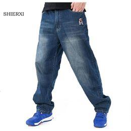 Wholesale Boys Baggy Jeans - Wholesale-Men's Baggy Jeans Hip Hop Designer Brand Skateboard Pants loose Style Plus Size 30-46 HipHop Rap Jeans Boy Trousers
