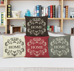 """Wholesale fabric wreath - """" HOME"""" with crown and wreath pillow case Linen fabric home sofa cushion cover Digital printing pillowcase"""