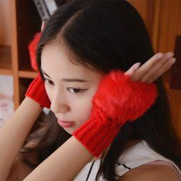мех руки Скидка iMucci наручные варежки Кролик мех мех/Ворсин женские перчатки трикотажные перчатки без пальцев рука теплее зимние трикотажные перчатки новые наручные отделкой перчатки