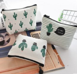Wholesale Girl S Purses - Travel Portable Cactus Canvas Zipper Earphone Storage Box Cute Simpleness Girl Coin Purse Key Bags Earphone Organizer Bags