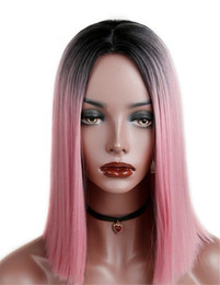 pink full lace human hair wigs Coupons - Two Tone Ombre Full Lace Human Hair Wigs T1b pink Straight Peruvian Virgin Hair Bob 130% Density Lace Front Wigs