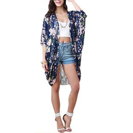 6aa48cd4215 2019 New Summer Fashion Women Casual Sexy Beach Cardigan Floral Printed  Half Sleeve Loose Long Beach Blouses