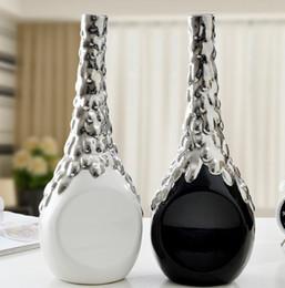 bianco nero argento ceramica moderna creativa fiori vaso home decor artigianato decorazione della stanza figurine di porcellana decorazione di nozze da