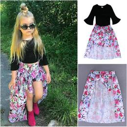 Argentina Las muchachas calientes del estilo embroman la ropa de las muchachas de los cabritos del bebé camiseta negra + Shorts florales + vestido de la falda de la falda acampanada Ropa de la muchacha del verano fija Suministro