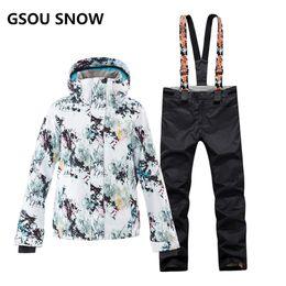 GSOU SNOW Ski Suit Women Skiing Jacket Snowboarding Pants Waterproof Cheap Skiing  Suit Winter Outdoor Sport Clothing 2018 Coat f99f2ef2c