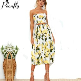 e4921e7ab1a7 Discount sexy off shoulder sundresses - PEONFLY 2018 Sexy Off Shoulder  Strapless Backless Two Piece Summer