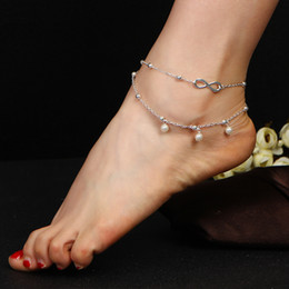 Wholesale ankle bracelet heart - Anklets Simulated Pearl Infinity Charm Beads Ankle Bracelets For Women Leg Chain Barefoot Sandals Foot Jewelry Accessories