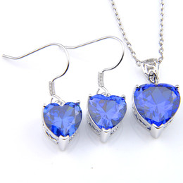 Wholesale blue topaz necklace earrings - LuckyShine 5 Sets Crystal Zircon Heart Blue Topaz Earrings and Pendant Chain Necklace 925 Silver Women Fashion Wedding Sets FREE SHIPPING!