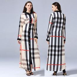 Abayas abertas on-line-Moda Plus Size 7XL Muçulmano Mulheres Botão Aboto Abaya Moda Robe Musulmane Manta Turn-Down Collar Vestido Turco Caftan Dubai Abaya