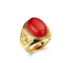 Wholesale Gold Carats - adjust rings 18 carat gold plated accessories exaggerated agate ring ring nouveau riche male Wedding Jewelry open size