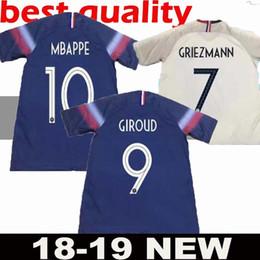 9d7fadf49bdb2 19 20 2 estrelas da copa do mundo GRIEZMANN MBAPPE POGBA França Casa de  distância Camisola de futebol azul e branca Duas Estrelas DEMBELE MARTIAL  camisa de ...