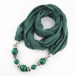 encantos cuadrados de tela Rebajas Collar de la bufanda de moda colgante de las mujeres Grandes perlas colgante de la bufanda de la joyería envoltura suave regalo de la joyería bohemia