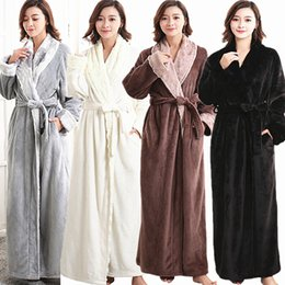Wholesale Pajamas For Couples - Wholesale-NEW Hot Sale Sexy Winter Thick Warm flannel Women's Pajamas Bath Robe Sleepwear couples Bathrobes Robes For Women Men Homewear