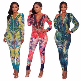 Wholesale Overalls For Ladies - Super hot ladies sexy jumpsuit two piece bodycon jumpsuit women print celeb overalls for women SMR8379