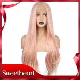 cosplay white straight long hair Promo Codes - New Style Cosplay Natural Long Straight Pink Middle Part High Temperature Fiber Hair Heat Resistant Synthetic Lace Front Wig For White Women