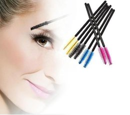 Wholesale Blue Color Eyeliner - Disposable Eyelash Brush Mascara Wands Applicator Makeup Cosmetic Tool Pink Blue Yellow Black color Hot Sell