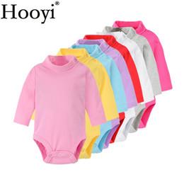 Solide Baby Mädchen Bodys 100% Baumwolle Weiche Neugeborene Kleidung Kleinkind Einteilige Kleidung Rollkragen Pyjamas Schlaf Shirts Tops Hose von Fabrikanten
