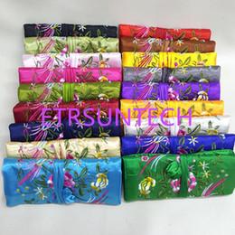 dobra saco cosmético Desconto Sorte Bordado 3 Zipper Bag Strap Satin Jóias Rolo Up Bolsa de Maquiagem Saco de Estilo Chinês de Armazenamento De Cosméticos QW7946