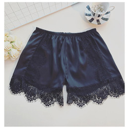 Wholesale Womens Black White Costumes - Womens Sleep Bottoms Elastic Waist White Black Lace Shorts Casual Panties for Women Costume Summer Nightwear