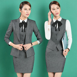 Wholesale Ladies Long Blazers Styles - Long Sleeve Elegant Grey Blazers Suits With Jackets And Skirt Formal Uniform Styles Ladies Office Business Work Wear Blazers Set