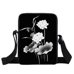 Wholesale mini sling bags - Sale Brand New Chinese Classic Fashion Black Water Lily Sling Shoulder Girls Women Mini Messenger Bag