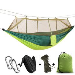 нейлоновая уличная мебель Скидка Two-person 210t Nylon Hammos Garden Outdoor Hammo Camping Travel Furniture Gammak Base Hamac Hanging Swing Sleeping Bed