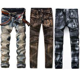 Wholesale Modern Khaki Pants - 20 Styles Man Rock Revival Jeans Skinny Rip Jeans Motorcycle Biker Mens Denim Pants Hip Hop Men Jean