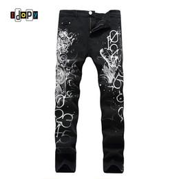 74a2141e3333b Прохладный мужской Дракон печатных джинсы хип-хоп окрашенные Slim Fit  эластичный черный мужской джинсовые брюки Брюки панк готический джинсы для  мужчин ...