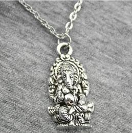 Tailandia encantos de plata online-Envío gratis 20 unids / lote plata antigua de bronce religión Tailandia Ganesha Buda gargantilla Charms collar de cadena DIY