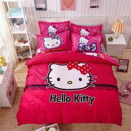 Wholesale Queen Sheet Set Gray - Wholesale-4pcs Hello Kitty Cartoon Bedding Set Kids with Duvet Cover Bed Sheet set of Bed Linen Bedsheet Bedspread Sheets Queen Twin Size