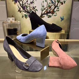 Wholesale Gray Dress Shoes Women - Genuine Leather high-end fashion trend 2018 new Italian brand ladies business shoes classic black blue gray pink ladies high heels & loafers