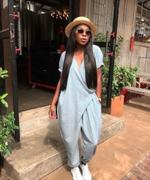 Wholesale grey pants woman - Women Grey Jumpsuits Rompers Hollow Out Party Overalls Spring 2018 Sexy Wrap Pants Female Jumpsuit