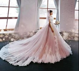 2019 zuhair murad de hombro vestido de fiesta Blush vestidos de novia de color rosa Vestido de bola de lujo con cuentas en el hombro vestido de novia de encaje zuhair murad vestido de novia de novia zuhair murad de hombro vestido de fiesta baratos