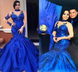 Wholesale long sleeves mesh prom dresses - 2018 New High Neck Saudi Arabia Royal Blue Prom Dresses Mesh Mermaid Long Sleeves Lace Appliques Evening Gowns Plus Size Satin