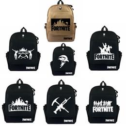 Wholesale cartoon outdoor games - 7 colors Fortnite student School Bag cartoon Backpacks Game Fortnite Print Shoulders bag Outdoor travel bags MMA279 12pcs